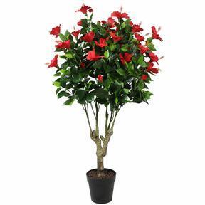 Artificial red hibiscus 135 cm