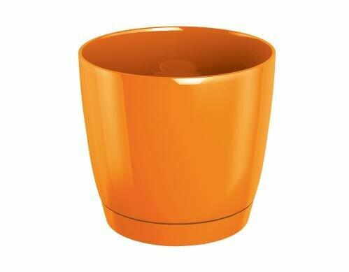 Flowerpot COUBI ROUND P with a bowl orange 15.5 cm