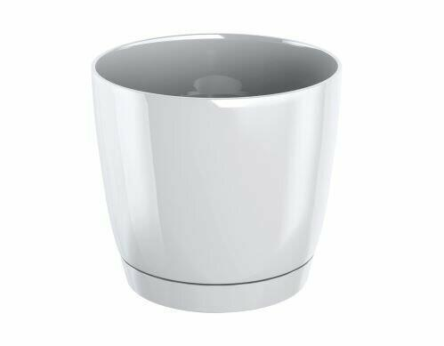 Flowerpot COUBI ROUND P with a bowl white 18cm