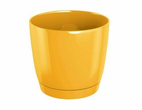 Flowerpot COUBI ROUND P with a bowl yellow 12cm