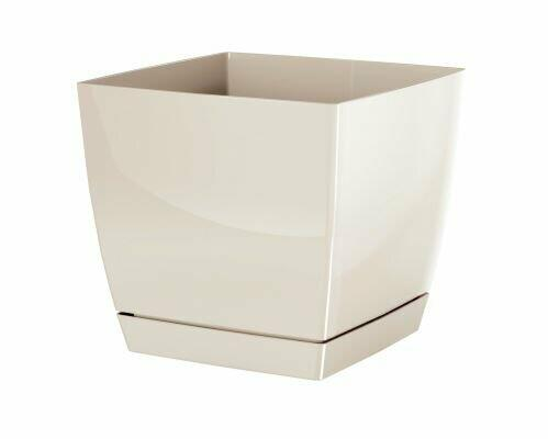 Flowerpot COUBI SQUARE P with a bowl of cream 10cm