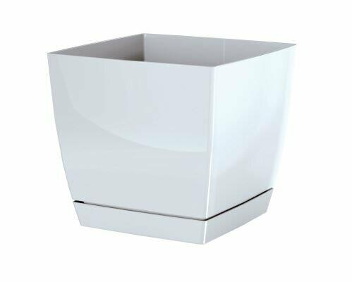 Flowerpot COUBI SQUARE P with a bowl white 13.5 cm