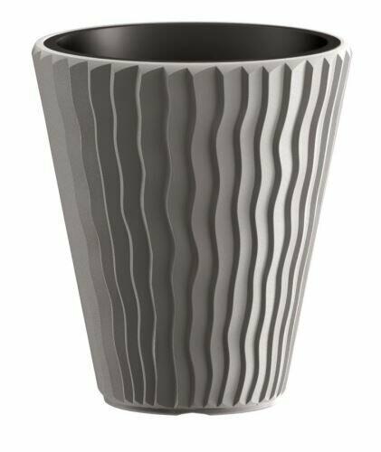 Flowerpot SANDY + deposit gray stone 39 cm