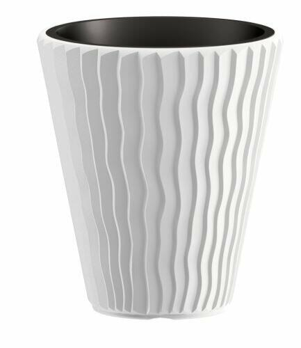 Flowerpot SANDY + deposit white 29.7 cm