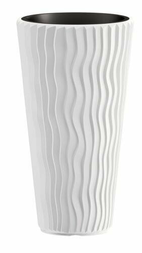 Flowerpot SANDY SLIM + insert white 39 cm