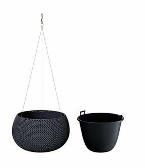 Flowerpot with insert and steel. cable SPLOFY BOWL WS anthracite 37cm