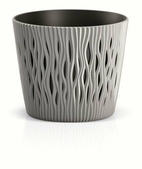 Flowerpot with insert SANDY ROUND gray stone 26.2 cm