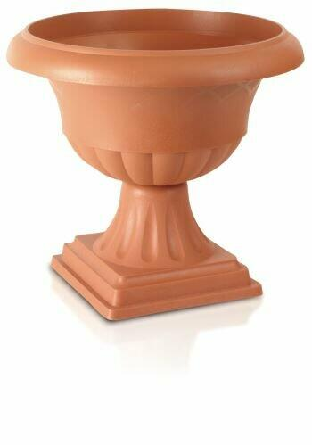Low flower pot ATENA terracotta 39,5cm + FOOT