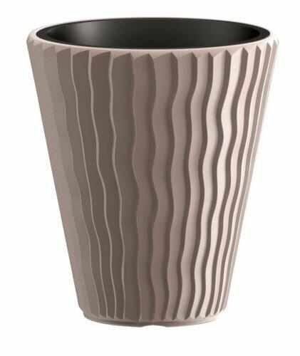 SANDY flowerpot + mocha insert 39 cm