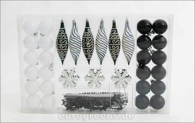 Set of black and white Christmas decorations 49 pcs