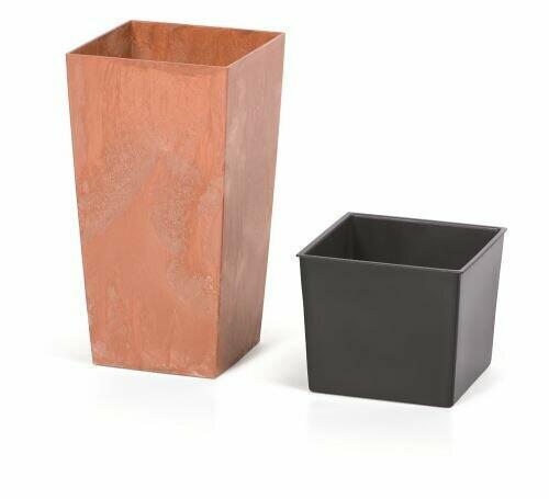 URBI SQUARE EFFECT flowerpot + terracotta insert 19.5 cm